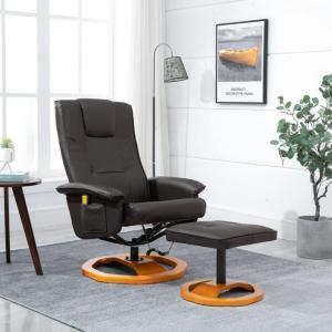 vidaXL Massasjestol med fotskammel brun kunstig skinn