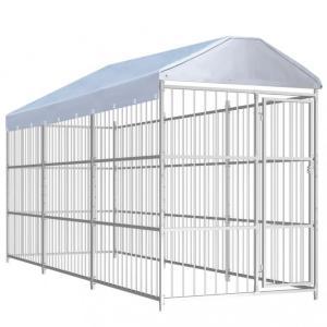 Utendørs hundegård med tak 450x150 cm