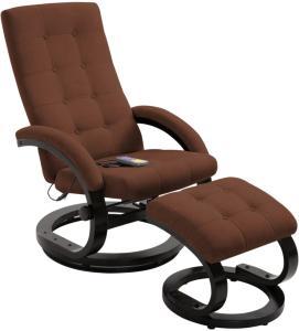 vidaXL Massasjestol med fotstøtte brun mykt semsket stoff