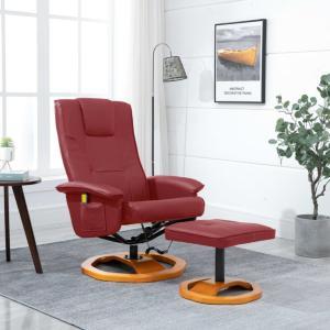 vidaXL Massasjestol med fotskammel vinrød kunstig skinn