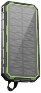 Vannavstøtende Solcellelader / Powerbank - 20000mAh - Grønn
