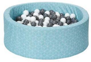 knorr® leker ballbad myk - Geo cube neo mint inkludert 300 baller grå / krem
