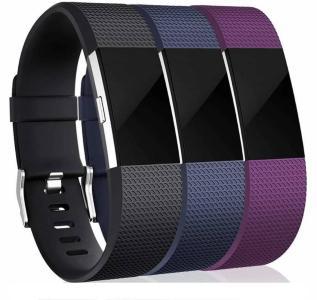INF Armbånd til Fitbit Charge 2, 3-pack - svart/blå/lilla - S