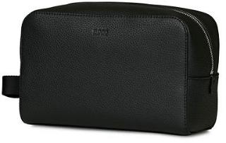 BOSS Crosstown Leather Washbag Black herre