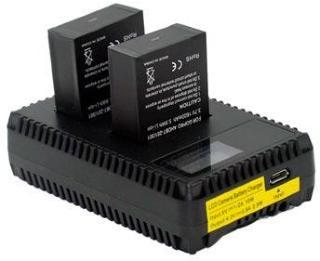 GoPro Hero3 / Hero3+ LCD Dobbel Batterilader - Svart