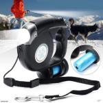 3 i 1 Fleksibelt hundebånd med lommelykt/LED lys og oppbevaring til hundeposer