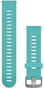 Garmin Hurtigutløsningsrem, akvamarinfarget silikonrem med anordning i rustfritt stål 010-11251-1Q, tilbehør til vivomove HR, vivoactive 3, Venu