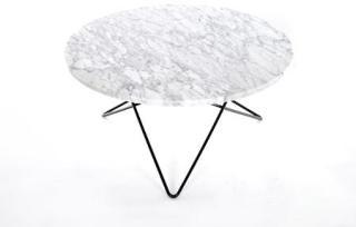 OX DENMARQ O Table Spisebord Svart/Matt Hvit Marmor Ø100