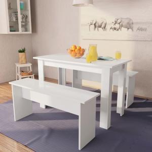 vidaXL Spisebord og benker 3 deler sponplater hvit