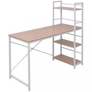 Skrivebord med 4-hyllers bokhylle eik