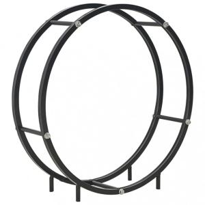 Vedstativ 70x20x70 cm stål - sort