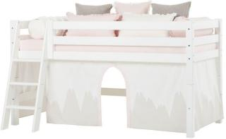 Hoppekids PREMIUM Halvhøy Seng 90x200cm, med forheng og madrass, Winter wonderland