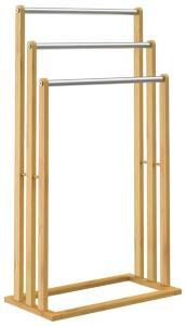 Håndklestativ bambus - 3 rustfrie stenger
