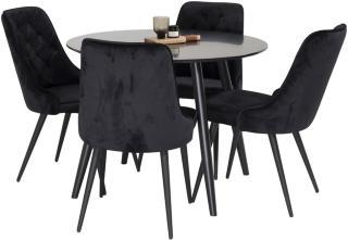 Pelle bord med Valerie lyx Fløyelsstol 4 stk -