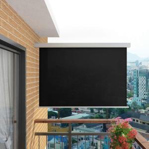 vidaXL Sidemarkise for balkong multifunksjonell 180x200 cm svart