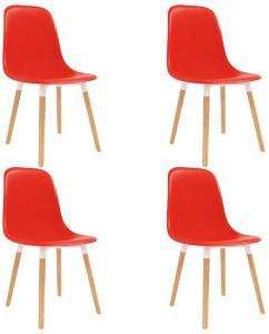 Spisestoler 4 stk rød plast - Rød