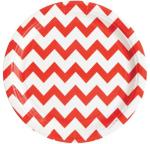 My Little Day 8 Paper Plates - Red Chevrons