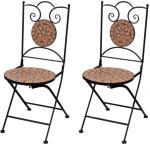 vidaXL Sammenleggbare bistrostoler 2 stk keramikk terrakotta