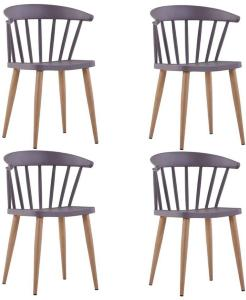 Spisestoler 4 stk grå plast stål -