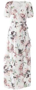 Dry Lake Kimchi Long Dress - White Pink Flower Print dame