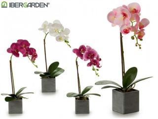 Kunstig naturtro Orkide i potte