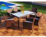 0 Rotting spisegruppe XXL med 6 stoler - brun