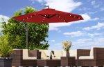 0 LED parasoll - rødfarget og solcelle Ø300cm