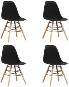 Be Basic Spisestoler 4 stk svart plast - Svart