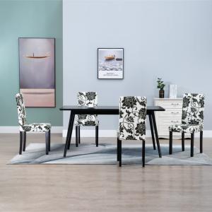 vidaXL Spisestoler 4 stk svart stoff