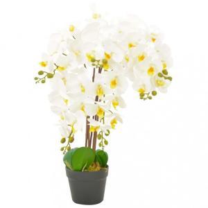 Kunstig plante orkidè med potte hvit - 60 cm