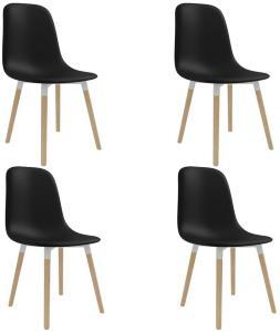 Be Basic Spisestoler 4 stk svart plast -