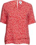 SAINT TROPEZ Leaf P Blouse Bluse Kortermet Rød SAINT TROPEZ