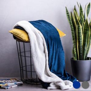 Fleece teppe (125 x 160 cm) - marineblå eller grå