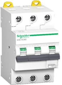 Schneider Electric Schneider Jordfeilautomat IC60 3P 32A 30MA C 6kA 400V 1600945 Jordfeilautomat