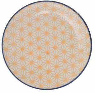 Asjett 16cm.Gul/blå  Star/Wave porselen Tokyo