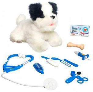 Lekia Interaktiv hund hos veterinær-svart/hvitt