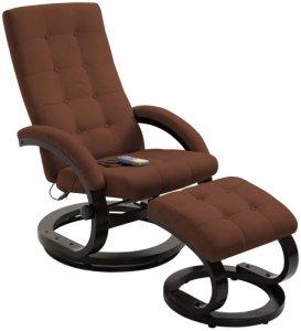 Massasjestol i semsket stoff med fotstøtte - Brun