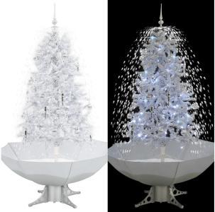 Kunstig juletre med snø og paraplyfot hvit 170 cm - Hvit