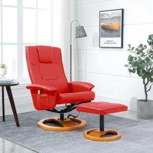 vidaXL Massasjestol med fotskammel rød kunstig skinn