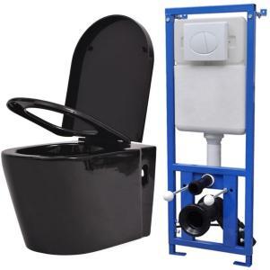 Vegghengt toalett med skjult sisterne svart keramikk -