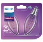 Philips LED-stearinlyspærer 2 stk Classic 2 W 250 Lumens 929001238371