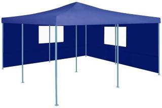Sammenleggbar paviljong med 2 sidevegger 5x5 m blå -