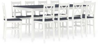 vidaXL Spisestue 11 deler furu hvit og grå