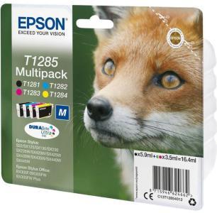Epson T1285 Multipack - 4-pack - svart, gul, cyan, magenta - original - blekkpatron (alternativ for: Epson T1285) (C13T12854022)