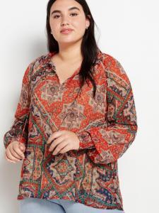 Mønstret bluse med detaljer i vaffelstrikk Lindex