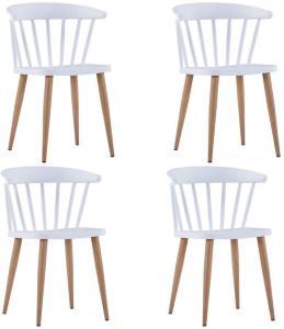 Spisestoler 4 stk hvit plast stål -