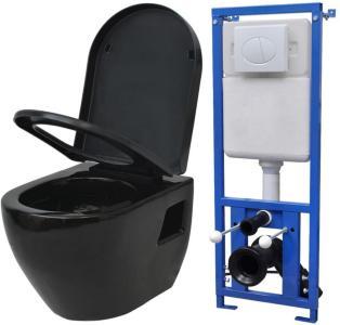 vidaXL Vegghengt toalett med sisterne keramikk svart