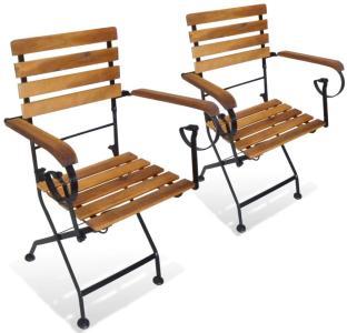 vidaXL Klappstoler 2 stk stål og heltre akasie