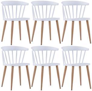 Spisestoler 6 stk hvit plast stål -