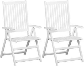 vidaXL Sammenleggbare spisestoler 2 stk heltre akasie hvit